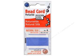 Clearance: Beadalon Cord 100% Silk Size 6 Blue 2 M