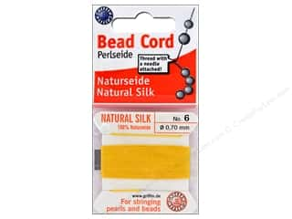 Clearance: Beadalon Cord 100% Silk Size 6 Yellow 2 M