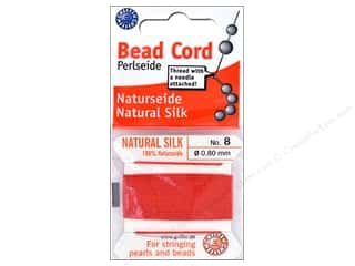 Twine: Beadalon Cord 100% Silk Size 8 Red 2 M