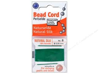 beading & jewelry making supplies: Beadalon Cord 100% Silk Size 8 Green 2 M
