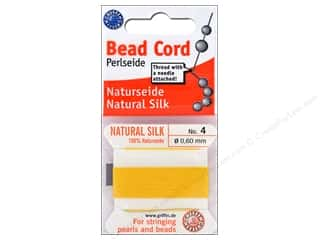 beading & jewelry making supplies: Beadalon Cord 100% Silk Size 4 Yellow 2 M