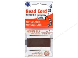 beading & jewelry making supplies: Beadalon Cord 100% Silk Size 6 Brown 2M
