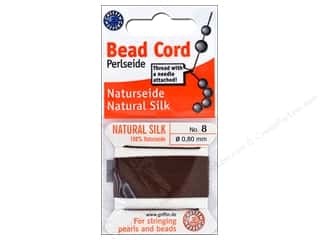 beading & jewelry making supplies: Beadalon Cord 100% Silk Size 8 Brown 2M
