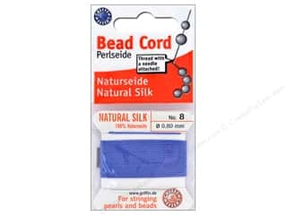 beading & jewelry making supplies: Beadalon Cord 100% Silk Size 8 Blue 2M