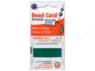beading & jewelry making supplies: Beadalon Cord 100% Silk Size 4 Green 2 M