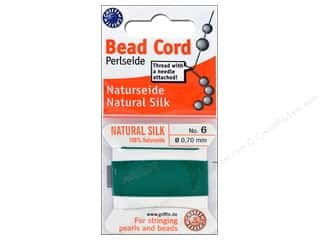 beading & jewelry making supplies: Beadalon Cord 100% Silk Size 6 Green 2 M
