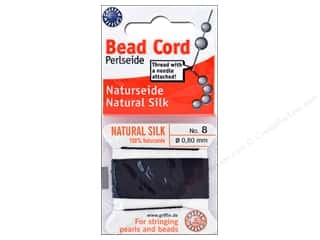 beading & jewelry making supplies: Beadalon Cord 100% Silk Size 8 Black 2 M