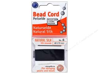beading & jewelry making supplies: Beadalon Cord 100% Silk Size 6 Black 2 M