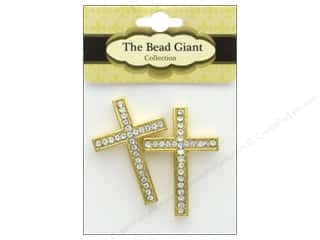 beading & jewelry making supplies: The Bead Giant Bead Rhinestone Cross Thin Gold 2pc