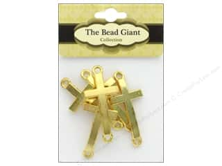 beading & jewelry making supplies: The Bead Giant Bead Cross Medium Gold 5pc