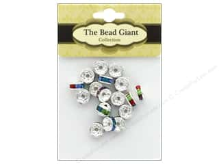 beading & jewelry making supplies: The Bead Giant Bead Disc Rhinestone 7mm Silver/Multi 18pc