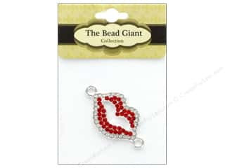 craft & hobbies: The Bead Giant Jewelry Bead Rhinestone Lips Red/Silver