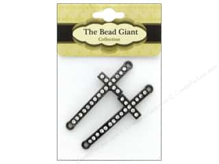beading & jewelry making supplies: The Bead Giant Bead Cross Slim Gunmetal 2pc