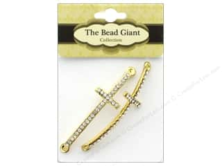 beading & jewelry making supplies: The Bead Giant Bead Cross Slim Gold 2pc