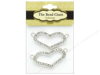 beading & jewelry making supplies: The Bead Giant Bead 2 Loop Heart Silver 2pc