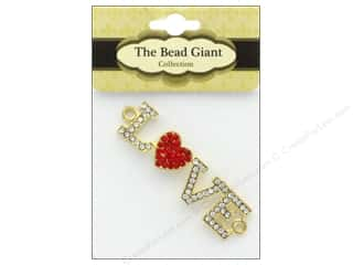 beading & jewelry making supplies: The Bead Giant Jewelry Bead Love Heart Gold