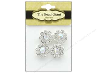 beading & jewelry making supplies: The Bead Giant Bead Spacer Daisy Silver 4pc