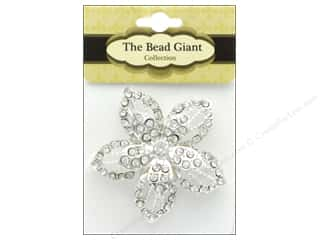 beads jewelry: The Bead Giant Jewelry Bead Flower 1 Silver/Crystal