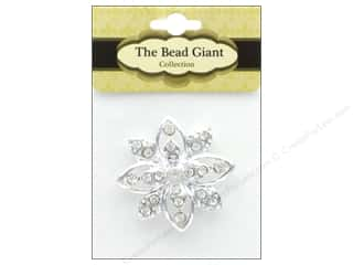 beading & jewelry making supplies: The Bead Giant Jewelry Bead Flower 2 Silver/Crystal