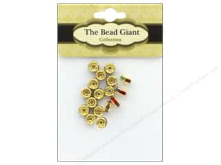 beading & jewelry making supplies: The Bead Giant Bead Disc Rhinestone 5mm Gold/Multi 18pc