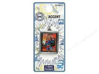 beading & jewelry making supplies: Cousin DC Comics Accent Spinner Pendant Superman Silver