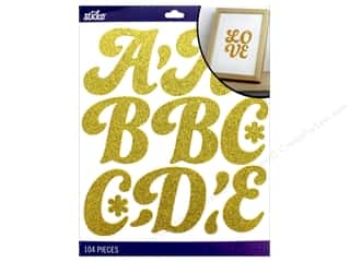scrapbooking & paper crafts: EK Sticko Stickers Alpha Funky Dori XL Glitter Gold