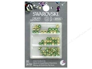 beading & jewelry making supplies: Cousin Swarovski Flatback Mix Jonquil Peridot 80pc