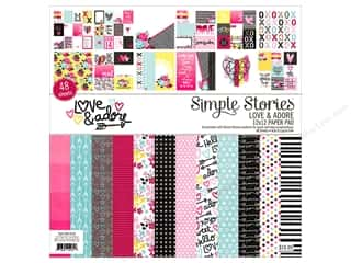 White cardstock: Simple Stories Collection Love & Adore 12 in. x 12 in.