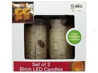 Sierra Pacific Crafts Lights Candle LED Birch Look 2 pc White