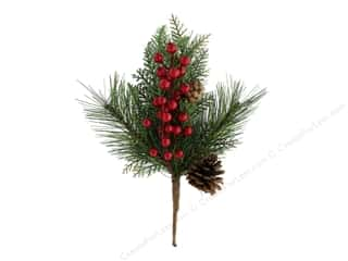 Sierra Pacific Crafts Decor Plastic Pick Pine With Red Berries & Pinecones Green