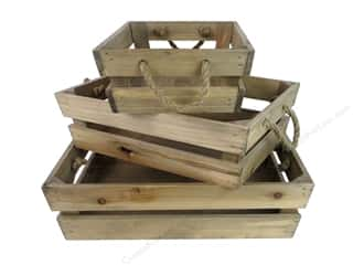 Sierra Pacific Crafts Wood Crates with Rope 3 pc. Natural