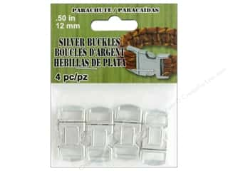 Clearance: Pepperell Parachute Cord Buckle 12 mm Silver 4 pc