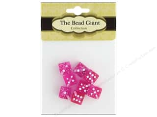The Bead Giant Bead Dice Glitter 8mm Pink 8pc