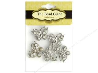 beading & jewelry making supplies: The Bead Giant Bead Spacer Butterfly Silver 5pc