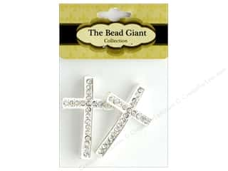 beading & jewelry making supplies: The Bead Giant Bead Rhinestone Cross Thin Silver 2pc