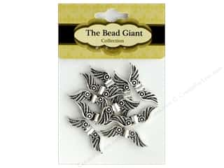 The Bead Giant Bead Angel Wing 24mm Silver 10pc