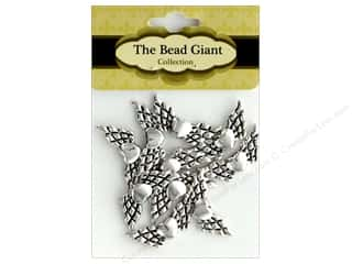 The Bead Giant Bead Angel Wing Heart 24 mm Silver 10 pc