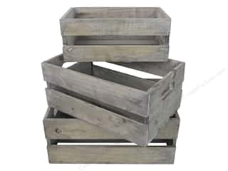 Sierra Pacific Crafts Wood Crate Set With Handles Set Of 3 White Wash