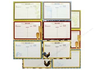 """Bo Bunny Collection Family Recipes Paper 12""""x12"""" Recipe Cards (25 pieces)"""