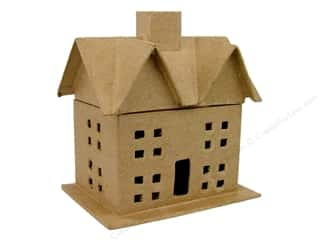 decorative box: PA Paper Mache Box With Windows Small Kraft (6 pieces)