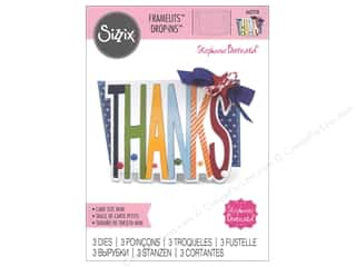 die cuts: Sizzix Dies Stephanie Barnard Framelits Mini Drop Ins Thanks