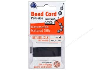 beading & jewelry making supplies: Beadalon Cord 100% Silk Size 4 Black 2 M