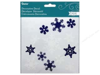 Darice Decorative Decal Snowflake White/Navy