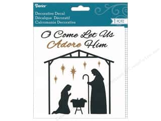 Clearance: Darice Decal Manger Scene Black/Gold