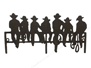 Sierra Pacific Crafts Decor Wall Art Metal 12 in. x 6 in.  Cowboys On Fence Brown