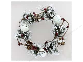 Sierra Pacific Crafts Decor Candle Ring Snowy With Glitter Bells & Holly Green/Red