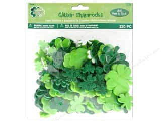 stickers: Darice Foamies Sticker St Patrick's Glitter Shamrock 120 pc