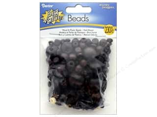 beading & jewelry making supplies: Darice Wood and Plastic Beads 230 pc. Assorted Dark Brown