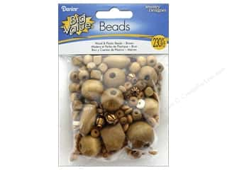 beading & jewelry making supplies: Darice Wood and Plastic Beads 230 pc. Assorted Brown