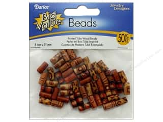 beading & jewelry making supplies: Darice Printed Wood Beads 5 x 11 mm Tube 50 pc.